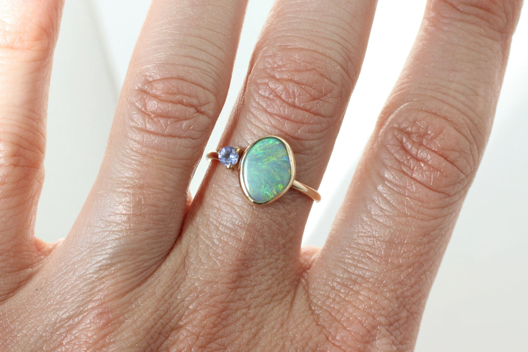 Opal and Tanzanite Ring in 14k Gold