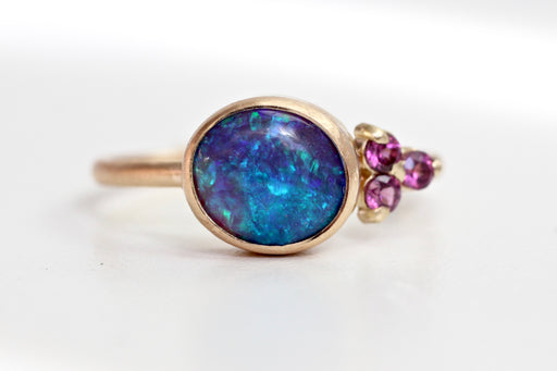 Black Opal and Rhodolite Garnet Ring in 14k Gold