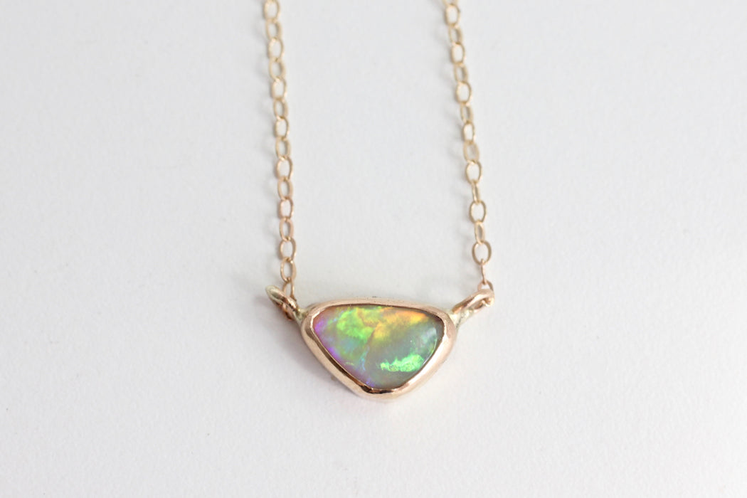 Delicate Opal Necklace in 14k Yellow Gold