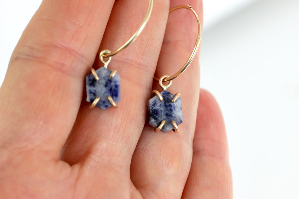 Sapphire Hexagon Slice Earrings in 14k Yellow Gold