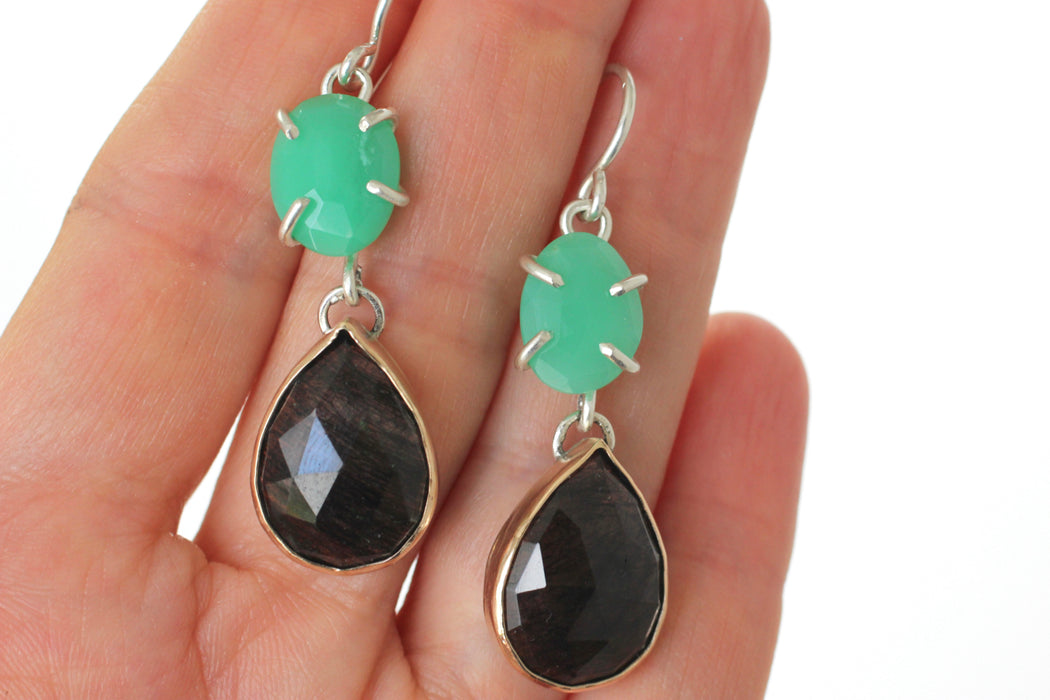 Chrysoprase and Tourmalated Quartz Earrings in 14k gold and sterling silver