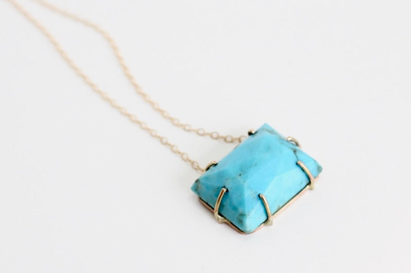 Turquoise Rose Cut Rectangle Necklace in Recycled 14k yellow gold
