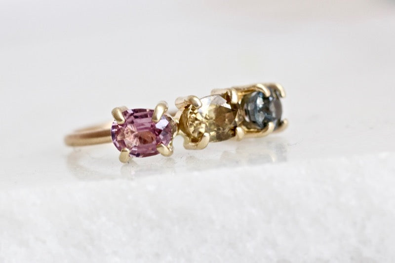 3 stone spinel ring in 14k Yellow Gold