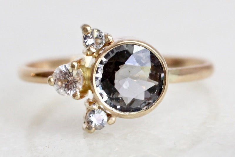 Spinel and sapphire accent ring in 14k Yellow Gold