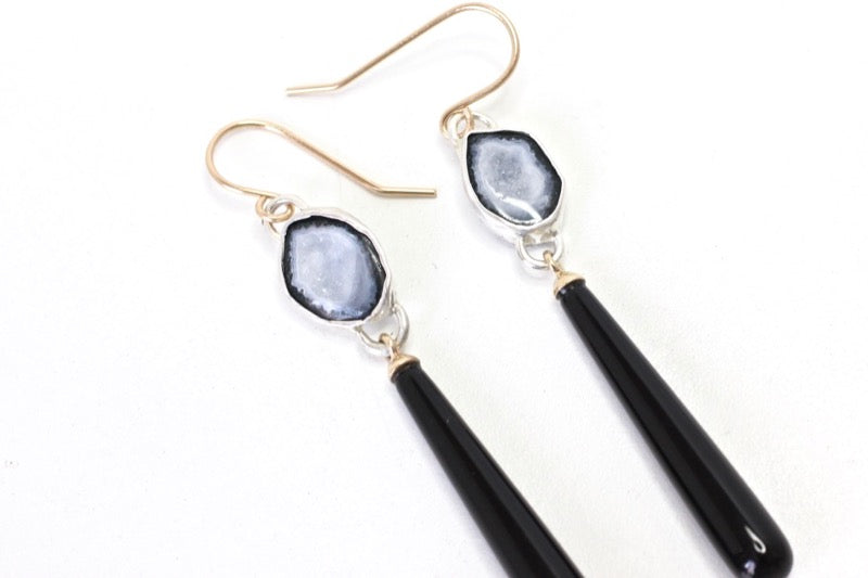 Baby Geode and Black Onyx Earrings in 14k yellow and Silver