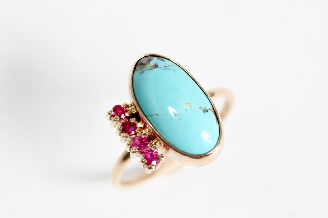 Turquoise and Ruby Ring - One of a Kind Ring in Recycled 14K Yellow Gold