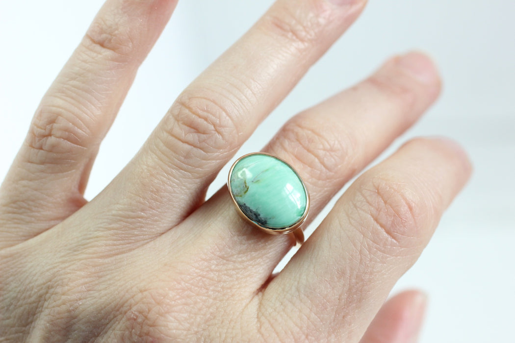 Oval Variscite Ring in Recycled 14k Gold