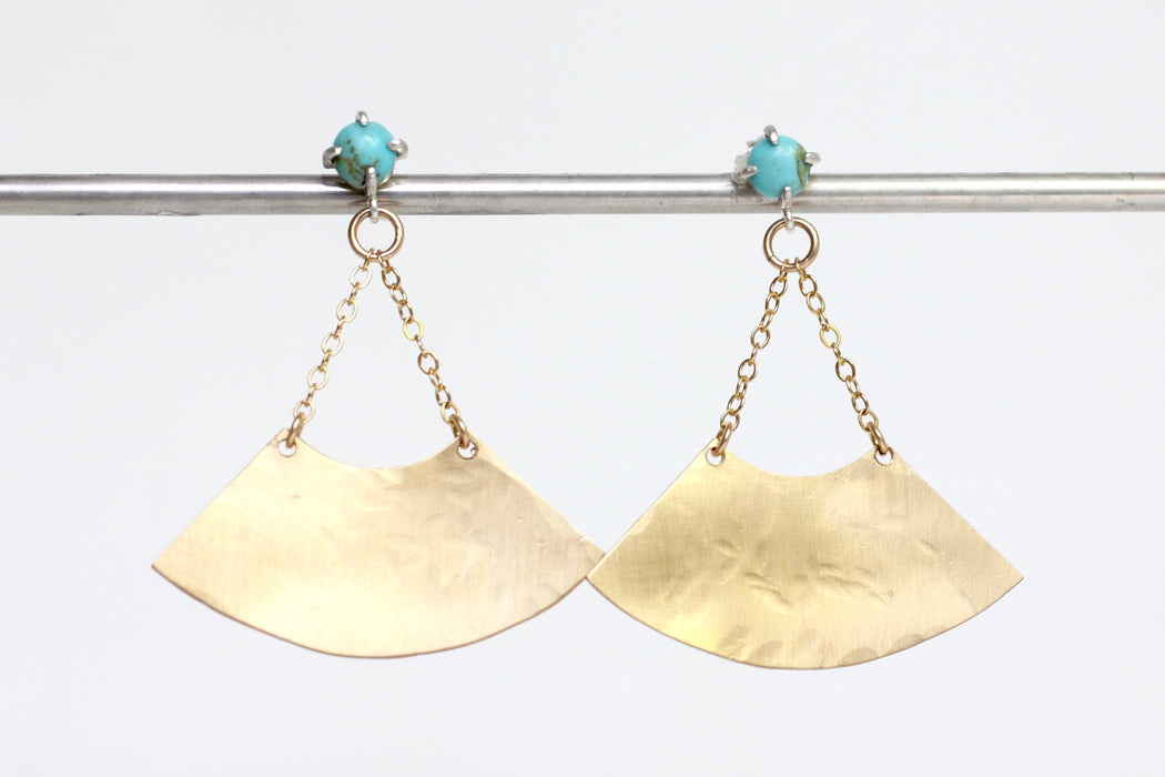 Kingman Turquoise Fan Earrings in 14k gold fill and sterling silver