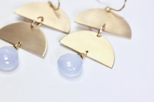 Half Moon and Chalcedony Dangles