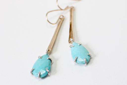 Rose Cut Turquoise drops in 14k gold fill and sterling silver