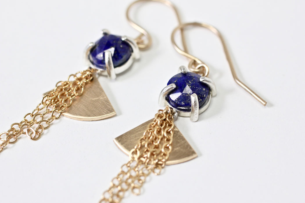 Lapis Lazuli fan earrings
