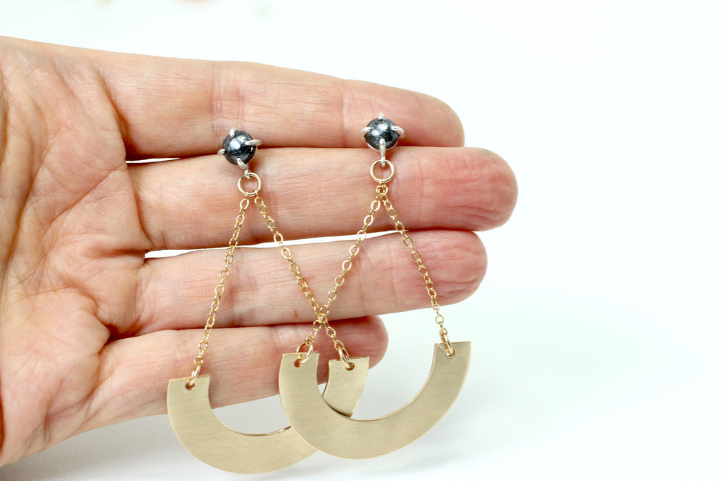 Hematite and gold arc earrings
