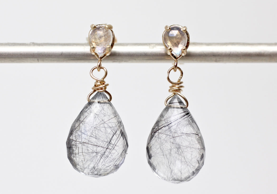 Rainbow Moonstone and Tourmalated Quartz Drops