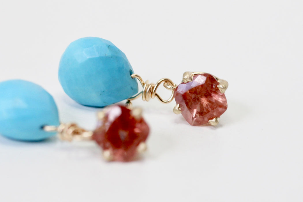 Oregon Sunstone and Turquoise Drop Earrings