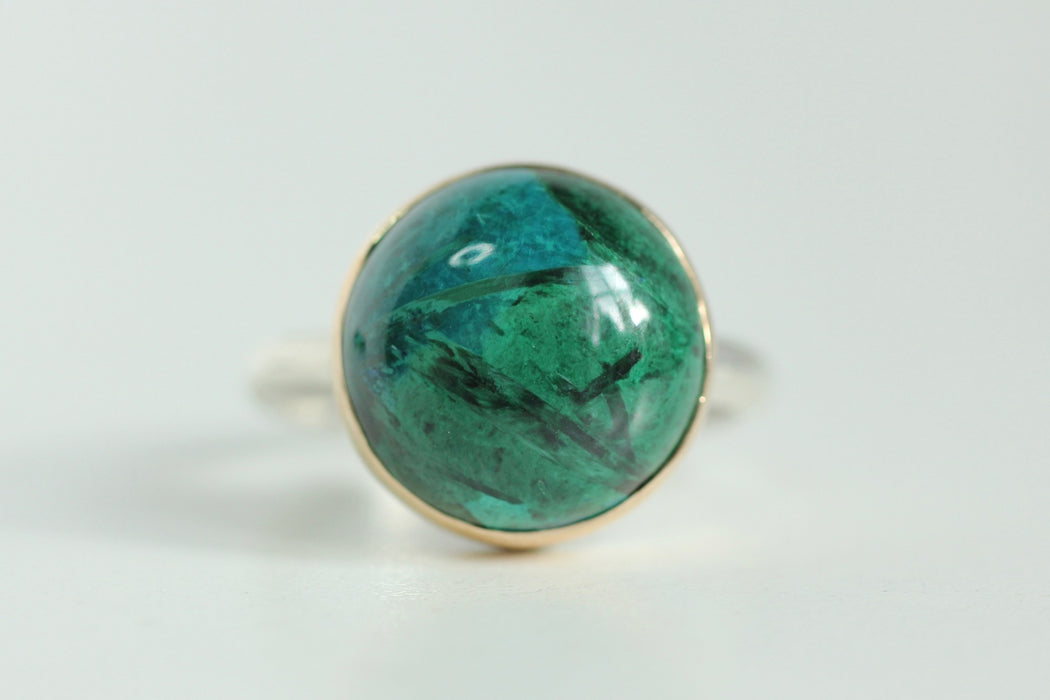 Malachite Ring in Recycled 14k Yellow Gold and Sterling