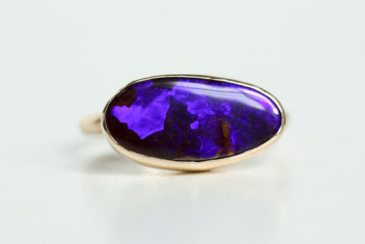 Black Boulder Opal Ring in 14k Gold