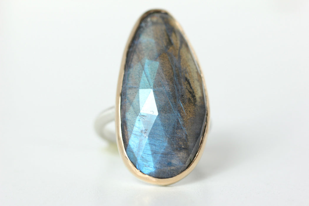 Labradorite Ring in Recycled 14k Yellow Gold and Sterling