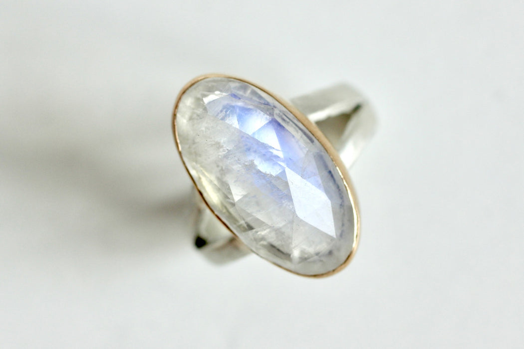 Moonstone Ring in Recycled 14k Yellow Gold and Sterling
