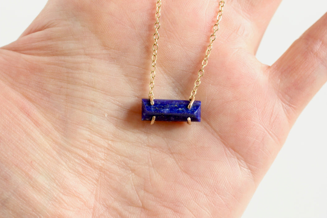 Lapis Lazuli necklace in solid and 14k gold fill