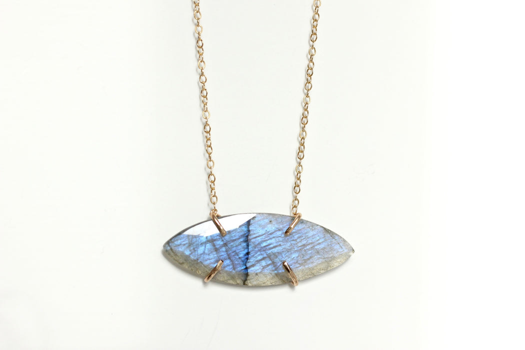 Marquise Labradorite necklace in solid and 14k gold fill