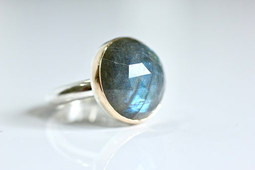 Round Labradorite Ring in Recycled 14k Yellow Gold and Sterling