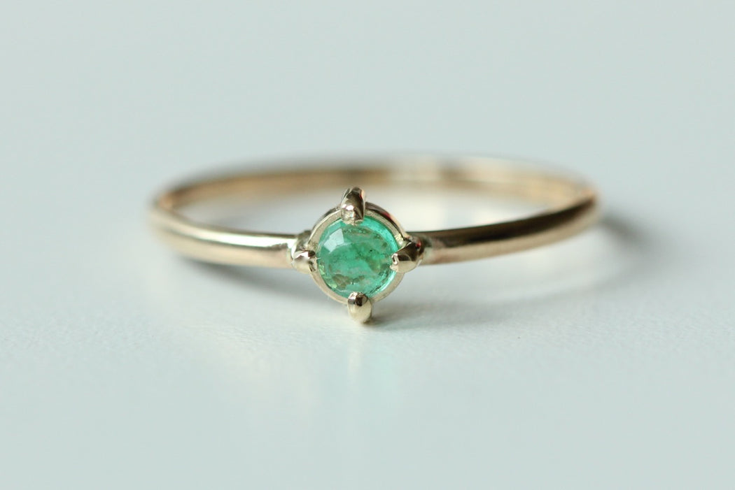 Emerald Stacking Ring in Recycled 14k Yellow Gold