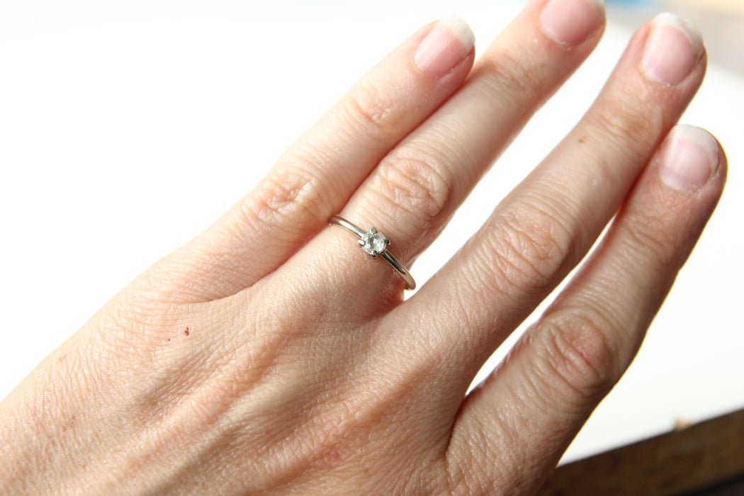 White Sapphire Stacking Ring in Recycled 14k White Gold