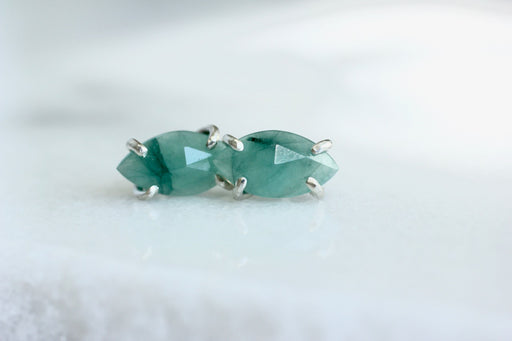 Marquise Emerald Studs in Sterling Silver