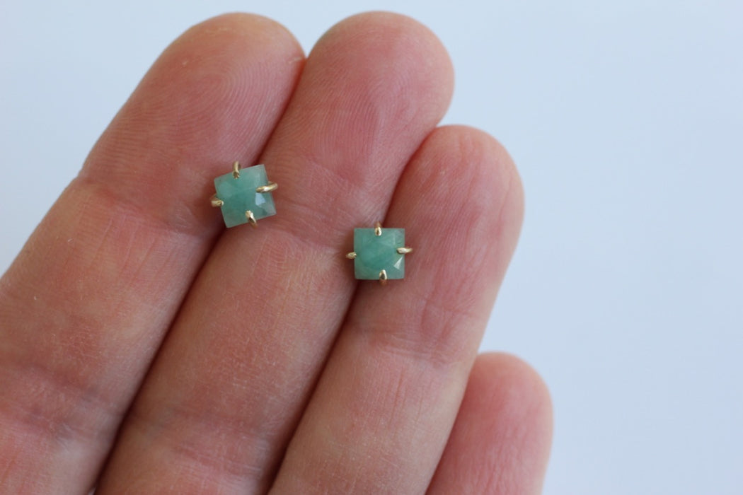 Square Emerald Studs in 14k yellow gold