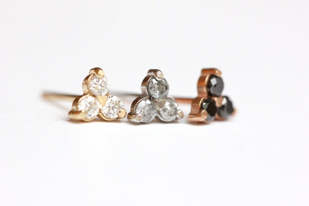 Diamond Trio Stud in 14k Gold