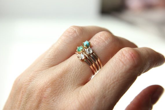 Turquoise Stacking Ring in Recycled 14k Yellow Gold