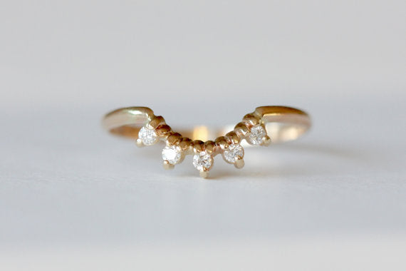 Crown Ring - 14k Recycled Gold 5 Stone Diamond Curved Wedding Band