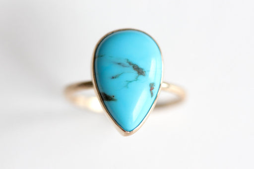 Pear Shaped Turquoise Ring in Recycled 14k Gold