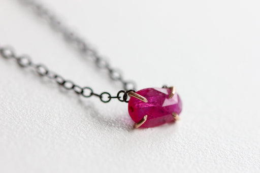 Ruby Necklace in Recycled 14k Rose Gold and Oxidized Sterling Silver