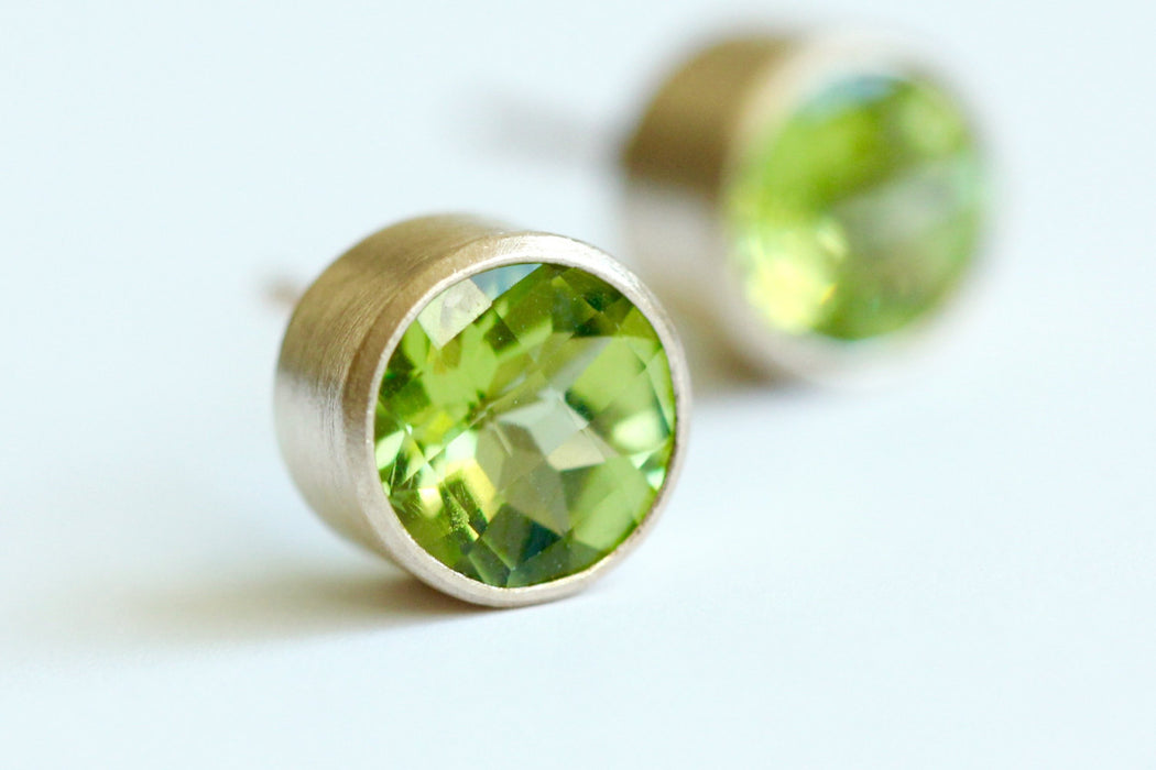 Peridot Stud Earrings in Recycled 14k Gold