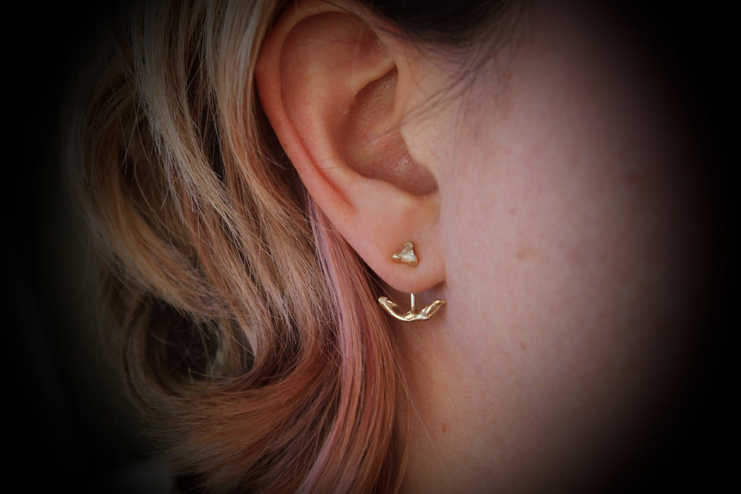 Twig Ear Jacket in Recycled 14k Gold and Sterling Silver