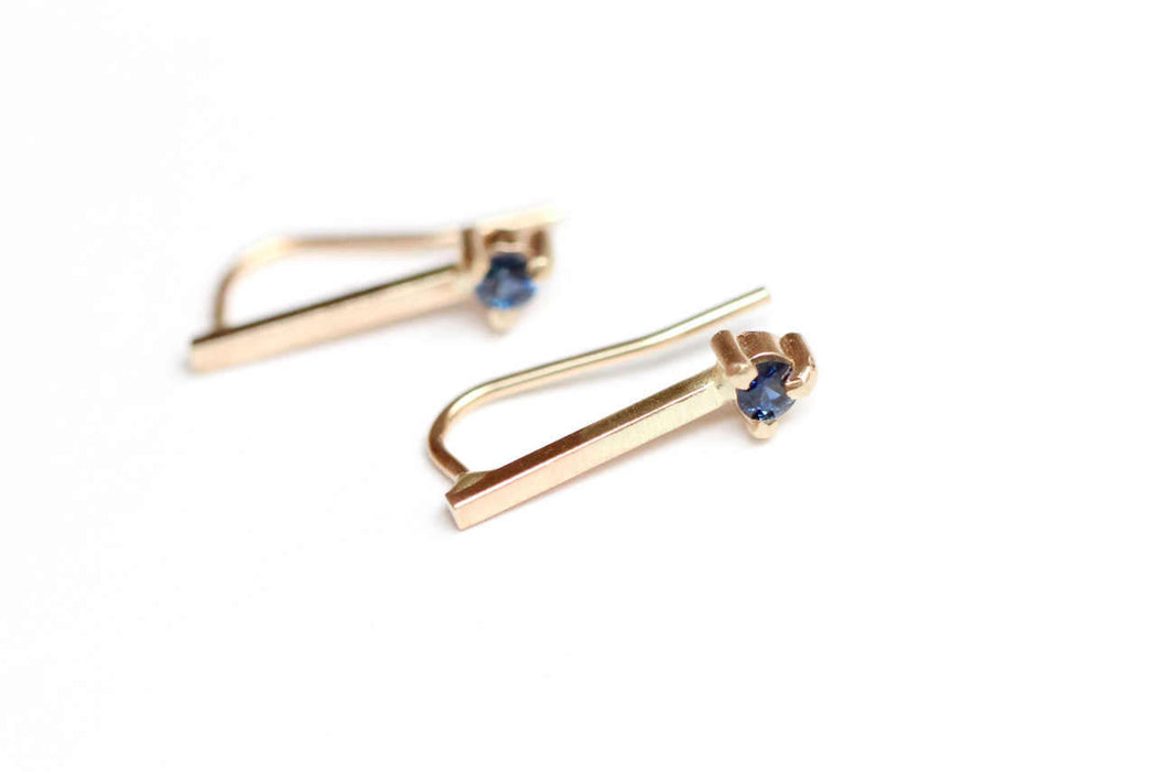 Blue Sapphire Bar Stud in 14k Yellow Gold