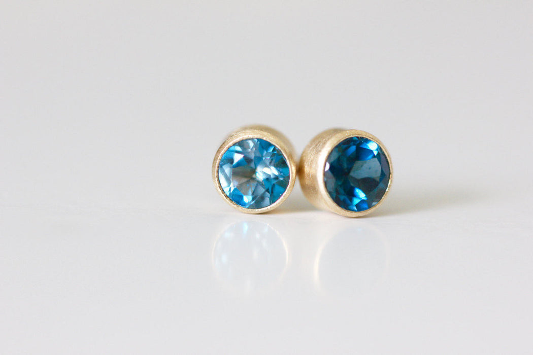 London Blue Topaz Stud Earrings in Recycled 14k Yellow Gold