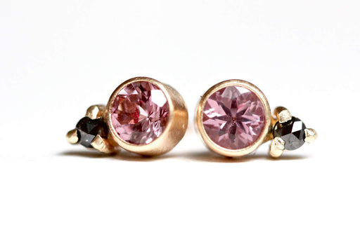 Pink Garnet and Rose Cut Black Diamond Studs in 14k Gold