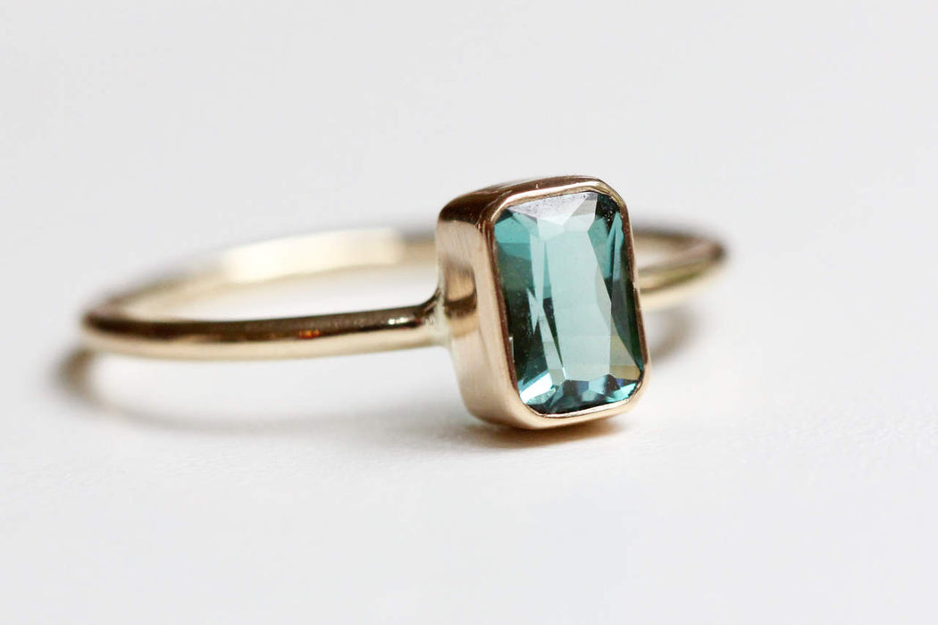 Emerald Cut Teal Tourmaline Ring in Recycled 14k Yellow Gold