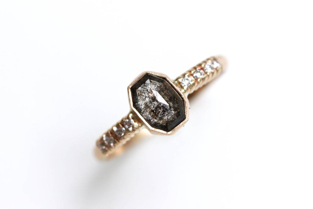 Salt and Pepper Diamond Engagement Ring in 14k Yellow Gold with White Diamond Accents