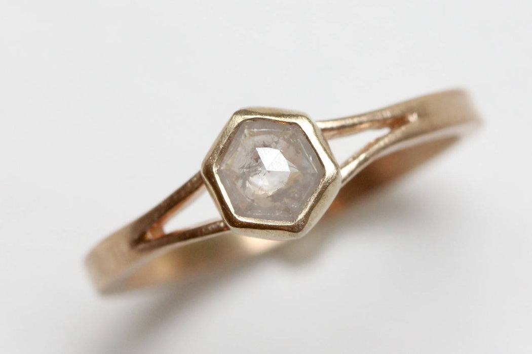 Rose Cut Hexagon Diamond Engagement Ring in 14k Yellow Gold