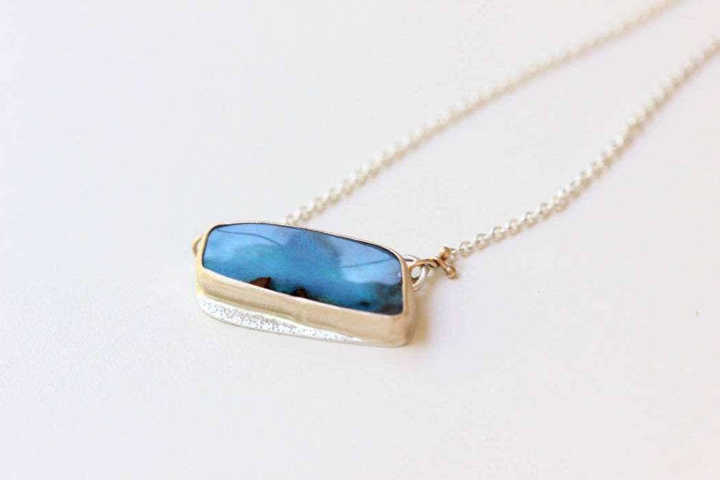 Boulder Opal Necklace One of a Kind Recycled 14k Gold and Sterling Silver