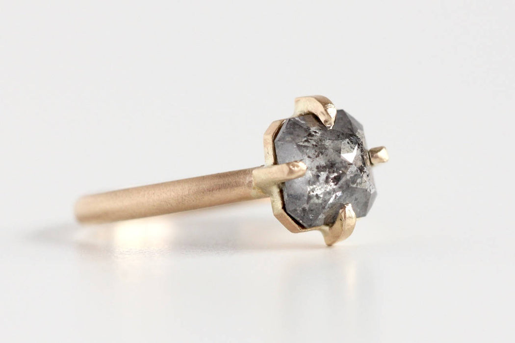 Ready to Ship Salt and Pepper Rose Cut Diamond Engagement Ring in 14k Yellow Gold