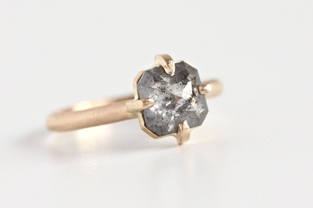 Salt and Pepper Rose Cut Diamond Engagement Ring in 14k Yellow Gold