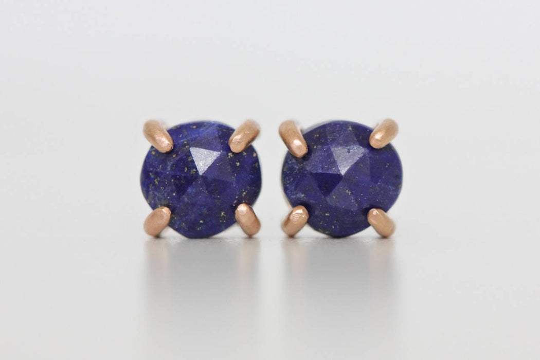 Lapis Lazuli Studs in 14k Rose Gold Prong Settings