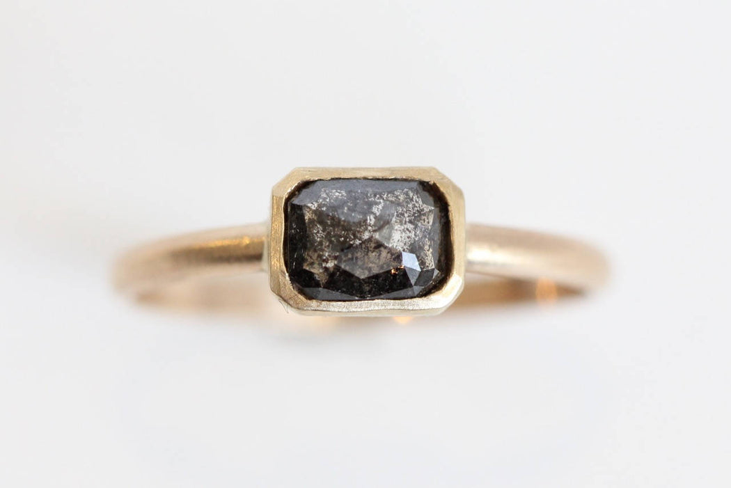 Black Salt and Pepper Rose Cut Diamond Engagement Ring in 14k Yellow Gold One of a Kind