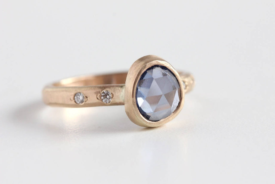 Rose Cut Blue Sapphire Ring and Diamond Accented Band in 14k Gold