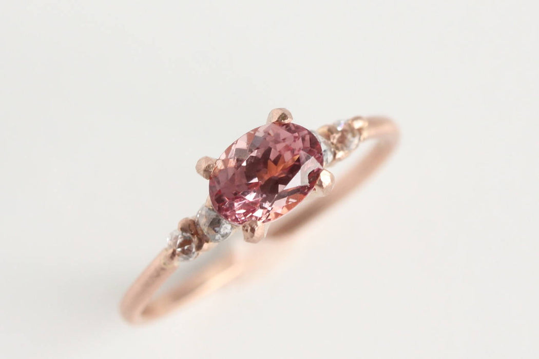 Pink Garnet Ring in Recycled 14k Rose Gold with Rose Cut Diamond Accents