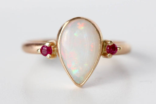 White Opal and Ruby Ring in 14k Yellow Gold